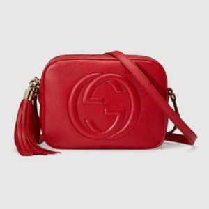 NWT Gucci GG Soho Leather Disco bag Red 346446